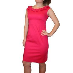 CLEO Pink Sheath Dress with Ruffle Scoop Neck